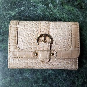 Kathy Van Zeeland croco embossed wallet.